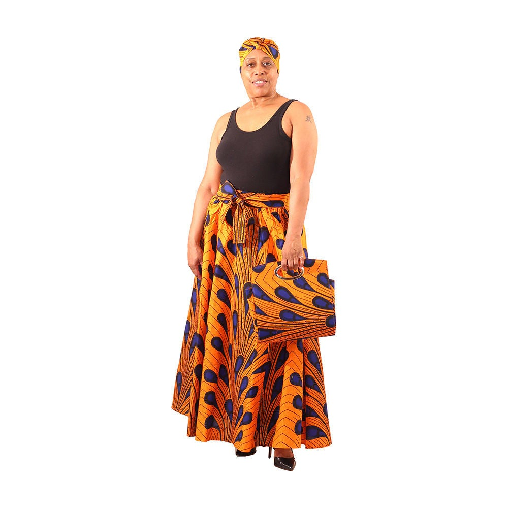 Orange Peacock Palla Skirt & Bag Set