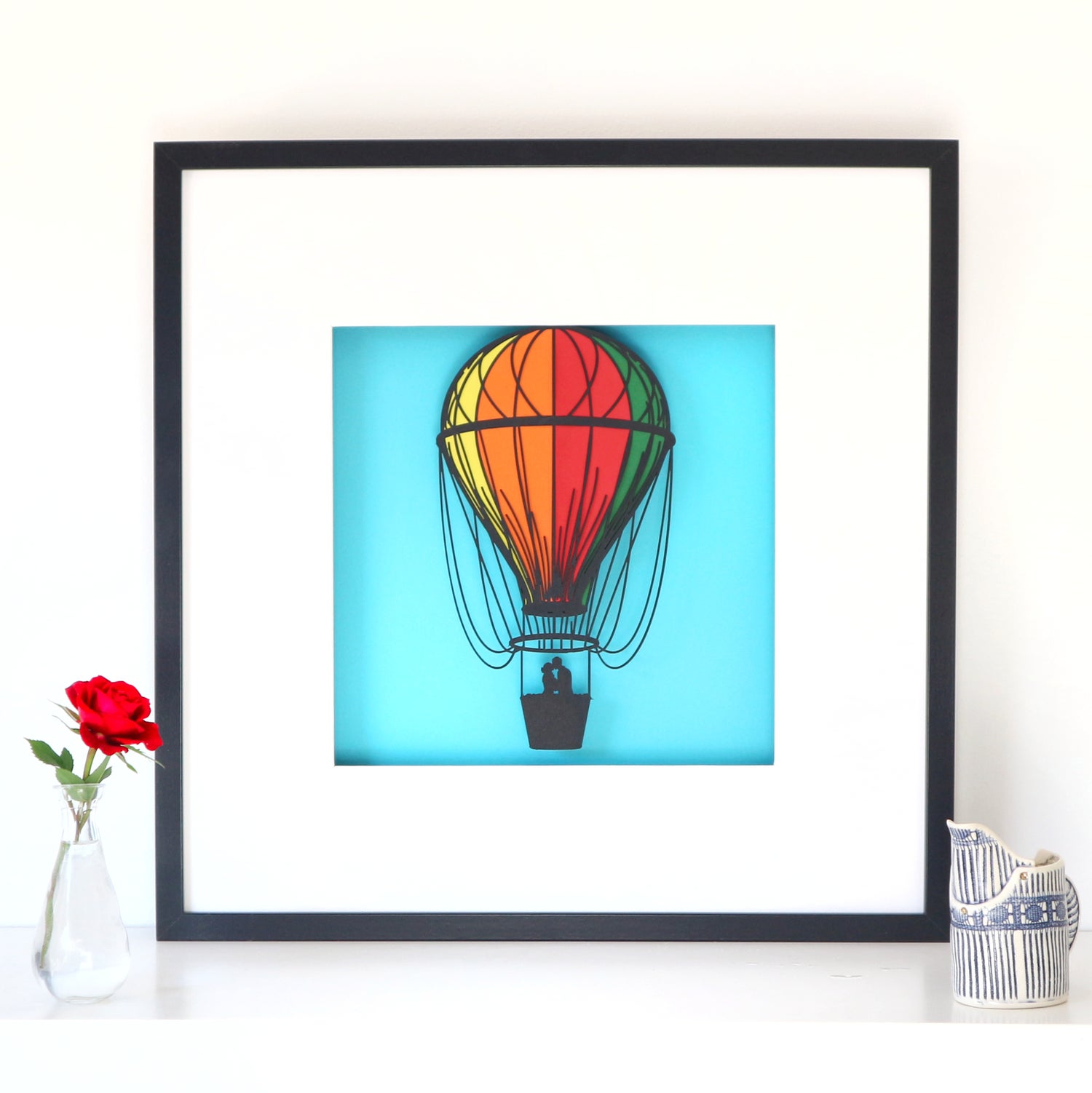 Image of Hot Air Balloon - Large Framed Papercut Picture