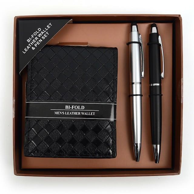 Men's Black Bi-Fold Wallet & 2 Touch Screen Stylus Pens Set