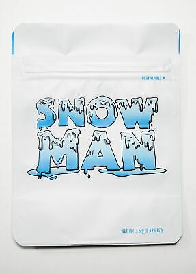 Image of Snow Man Cookies Bags Empty 3.5-7g Size Smell Proof Mylar Bags