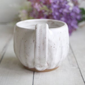 Image of Rustic Modern Handmade Matte White Speckled Pottery Mug, (A) Made in USA