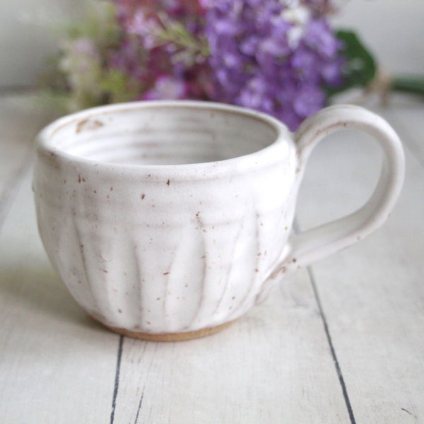 Image of Rustic White Speckled Mug in Modern Matte Glaze (B), Handcrafted Pottery Coffee Cup, Made in USA