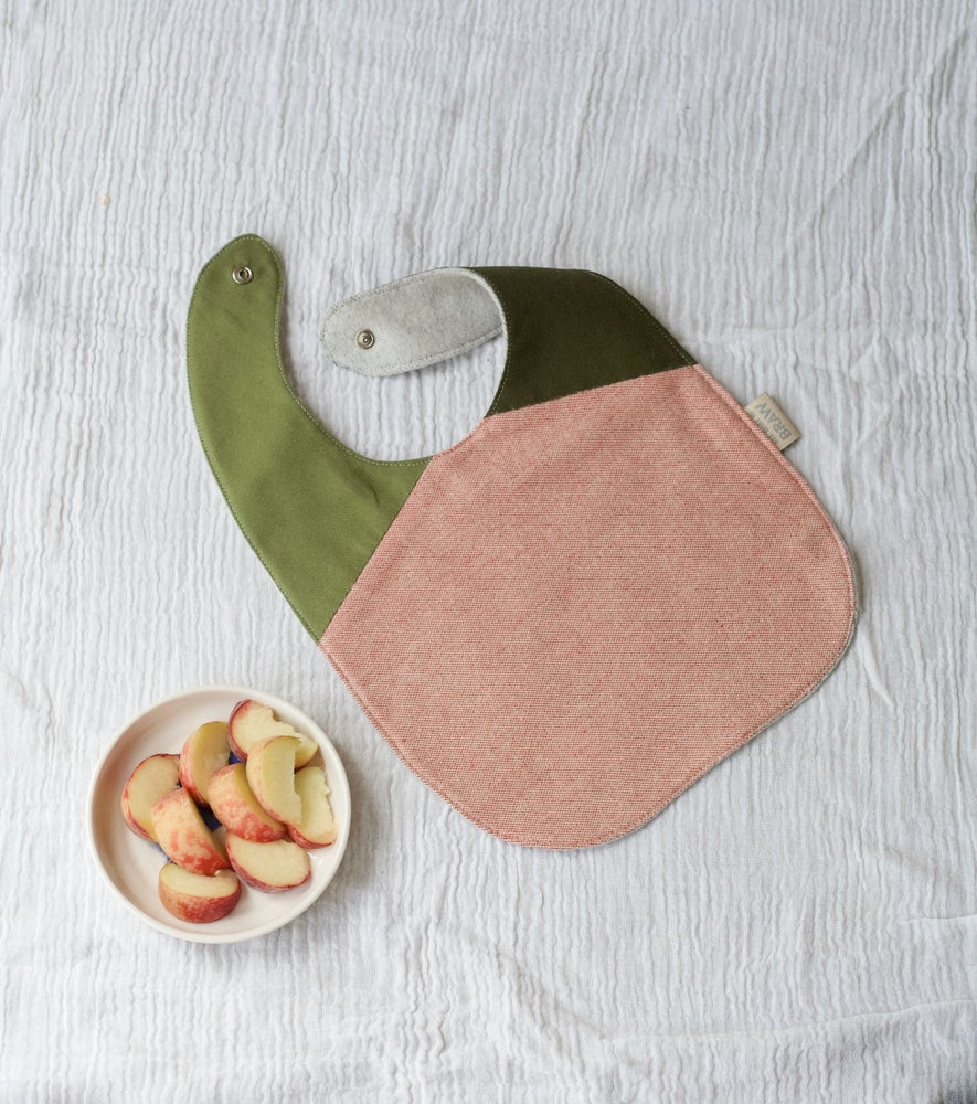 Image of Peaches + Greens Bib | Baby toddler feeding dribble bib