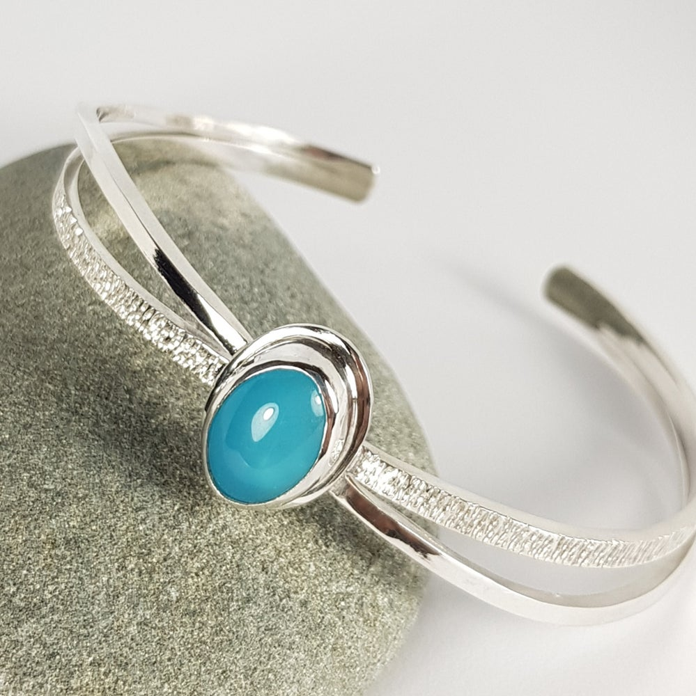 Image of Sterling Silver Bangle with Blue Chalcedony
