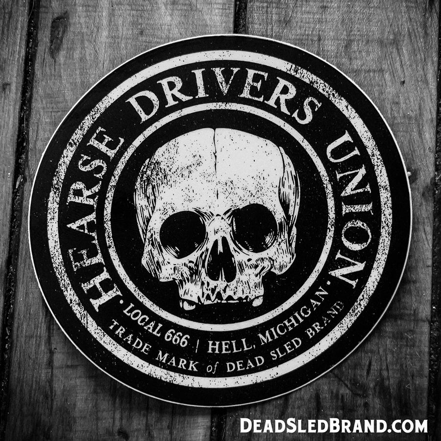Image of Dead Sled 4-inch Hearse Drivers Union sticker