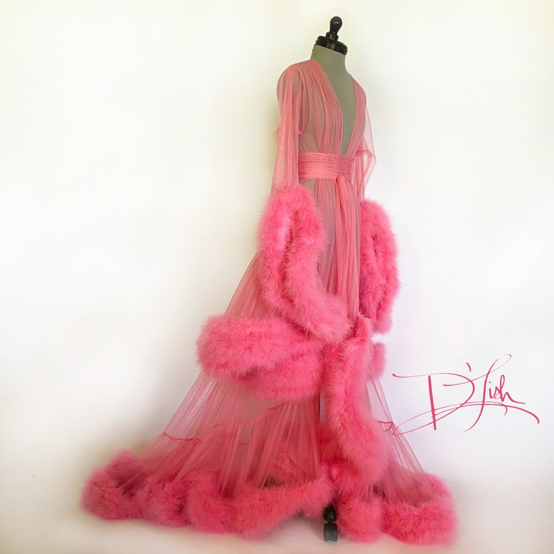 "Image of Coral Deluxe ""Cassandra"" Dressing Gown"