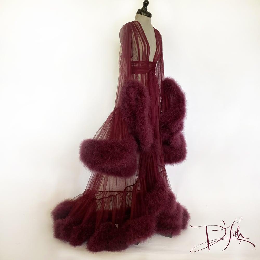 "Image of Dark Cherry Deluxe ""Cassandra"" Dressing Gown"