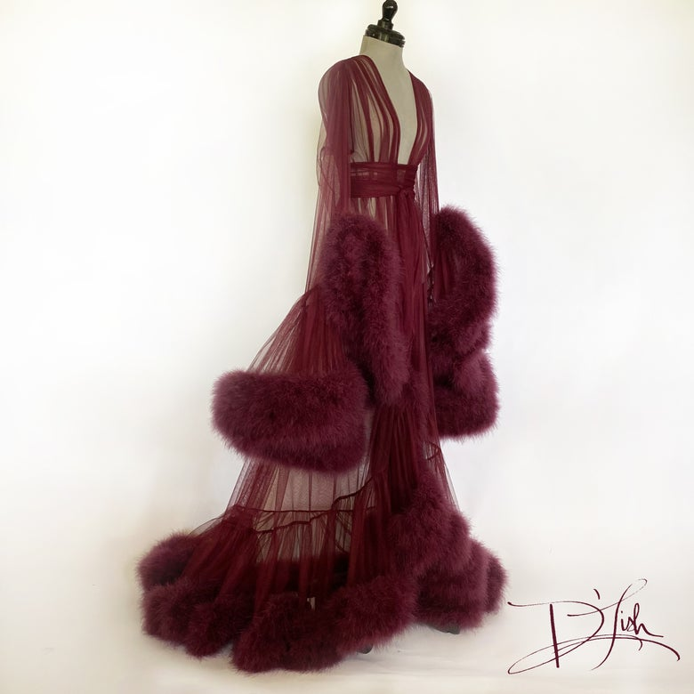 "Image of Dark Cherry Deluxe ""Cassandra"" Dressing Gown"