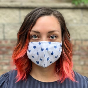 Image of Cat face mask - 100% cotton mask - reusable washable face mask