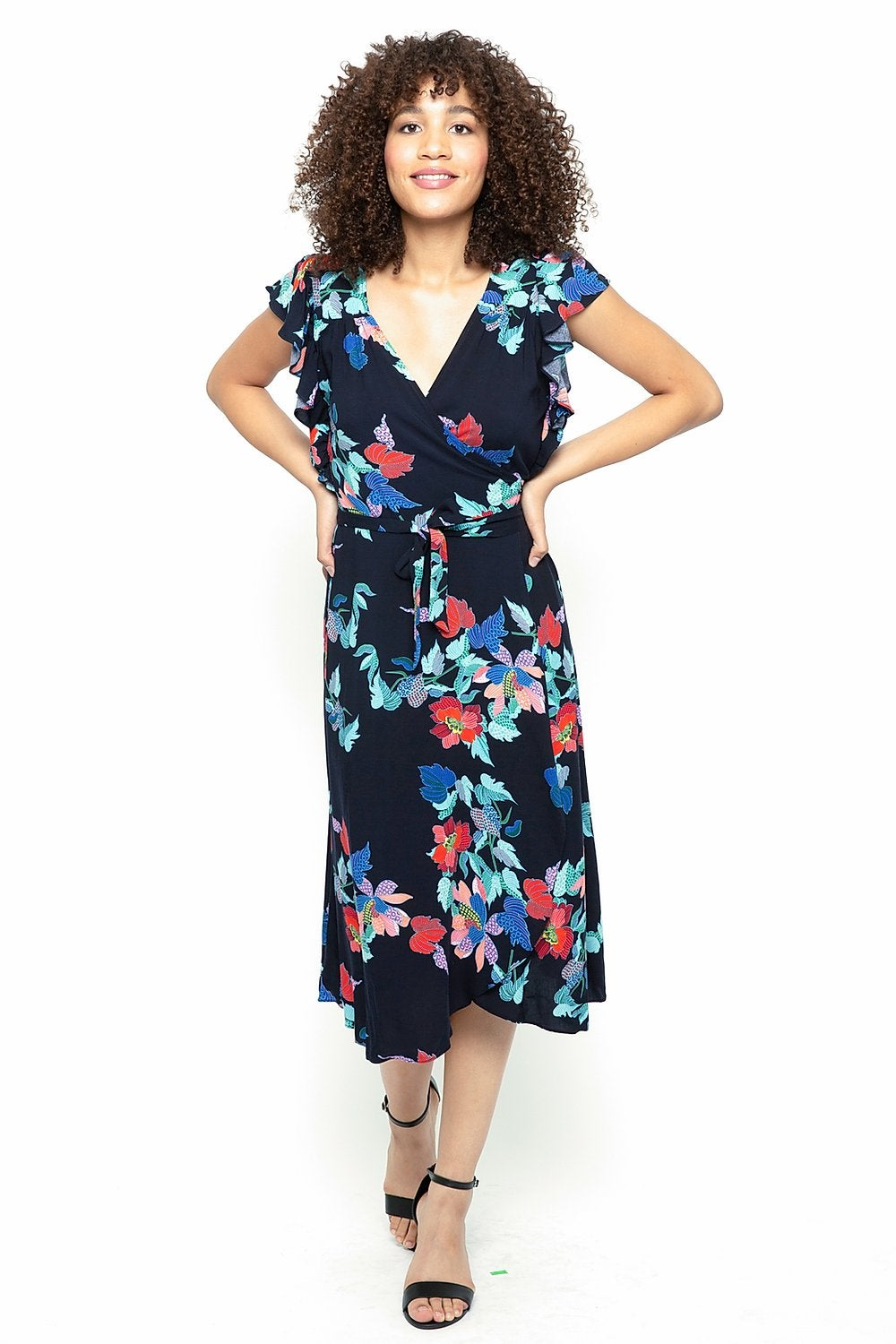 Image of Tropical Floral Print Wrap Dress