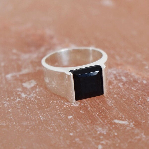 Image of Black Agate wide band silver ring