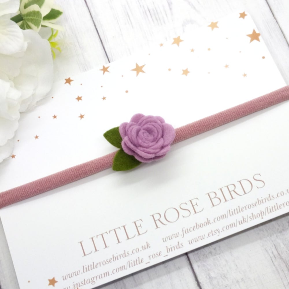 Image of CHOOSE YOUR COLOUR - Small Rose Felt Headband or Clip - Choice of 52 Colours