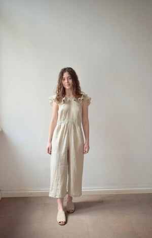 Image of LALU Linen Frilly Jumpsuit