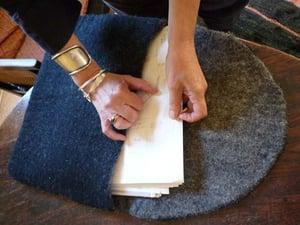 Image of Grey felt document or computer envelope.