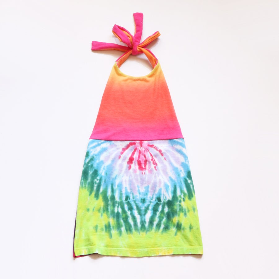 Image of tiedye tie dye 3/4 3T 4T fade ombre neon rainbow dyed green yellow blue pink halter dress