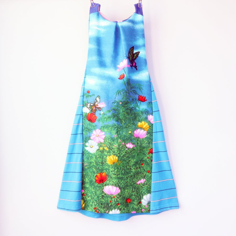 Image of blue purple VINTAGE WESCO RELTEX BUTTERFLY SKY 7/8 FLORAL FLOWERS FABRIC HALTER SUNDRESS DRESS