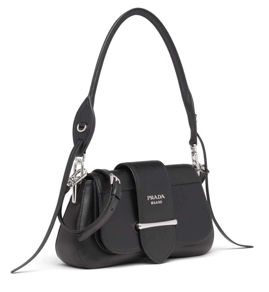 Image of Prada Sidonie Black Leather Shoulder Bag