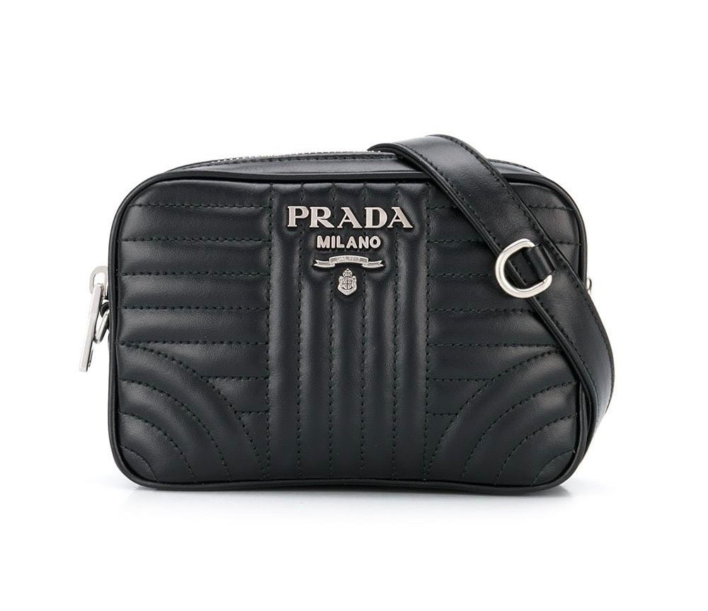 Image of Prada Diamgramme Belt Black Leather Cross Body Bag