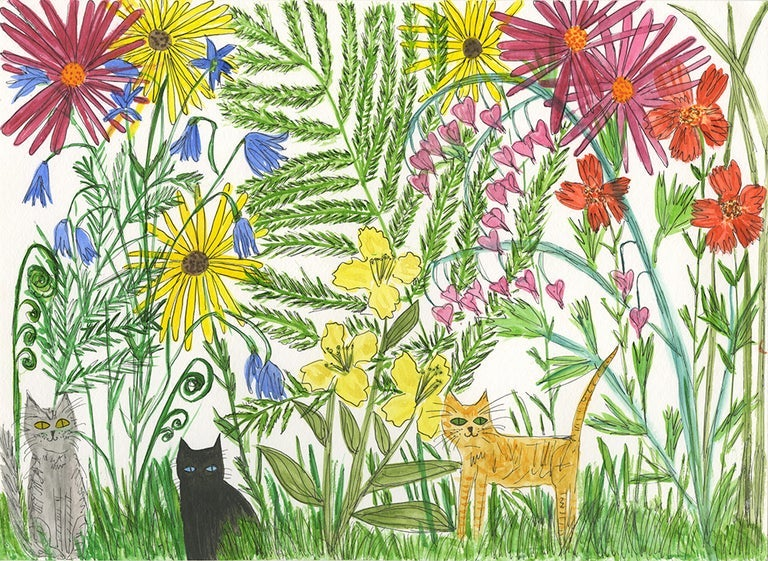 Image of Garden Cats. Limited edition print.