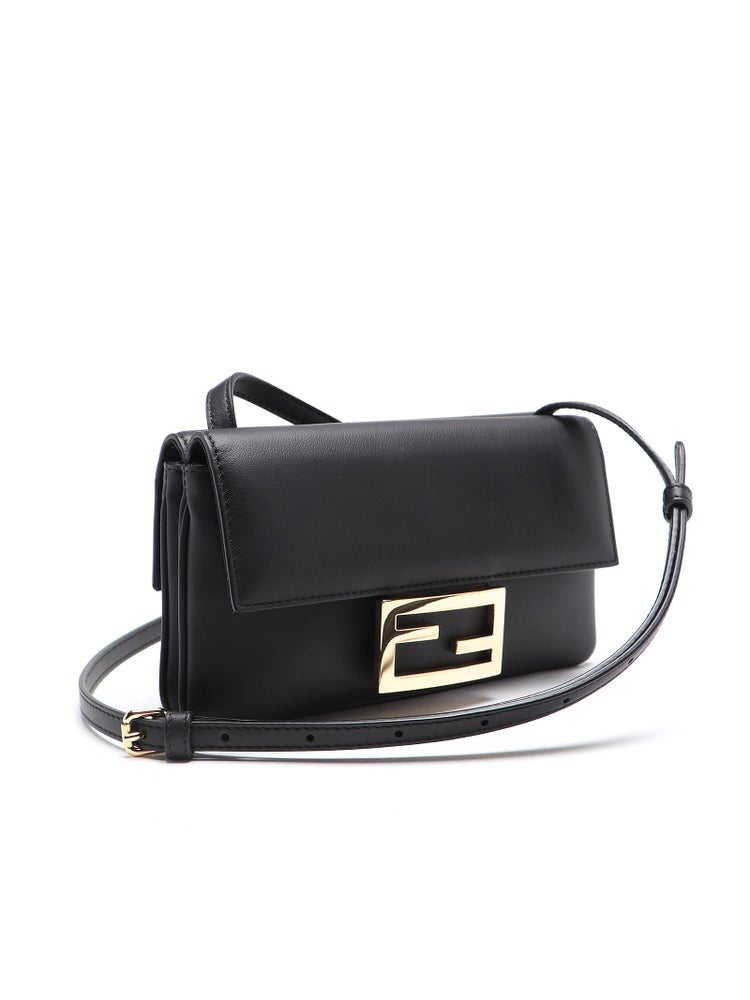 Image of Fendi Duo Baguette Black Leather Cross Body Bag