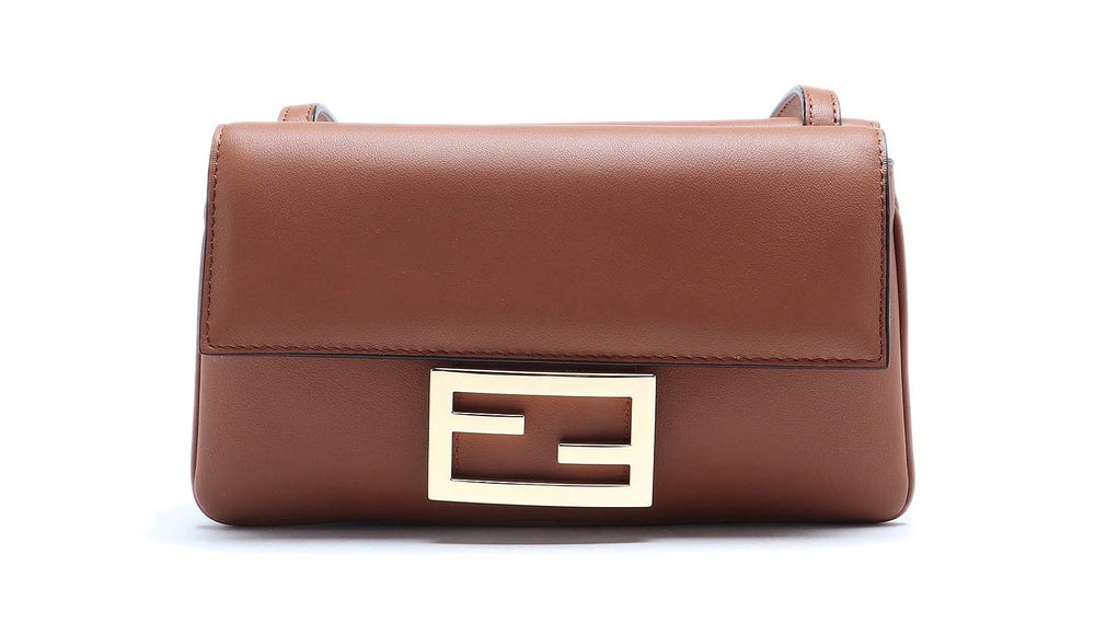 Image of Fendi Duo Baguette Brown Leather Cross Body Bag