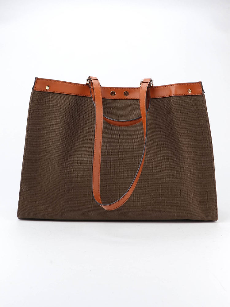 Image of Fendi Peekaboo X-tote Brown Leather/Cotton Satchel