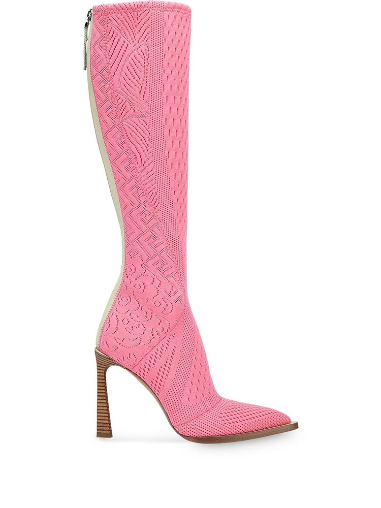 Image of Fendi Pink High-tech Jacquard Boots/Booties