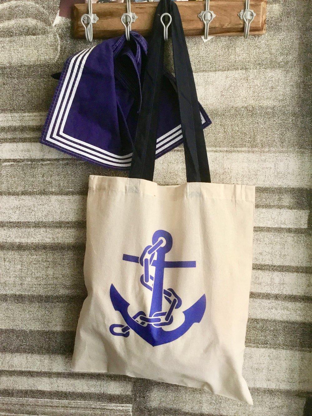 Image of Borsa Shopping in cotone Ancora/ Anchor canvas tote bag