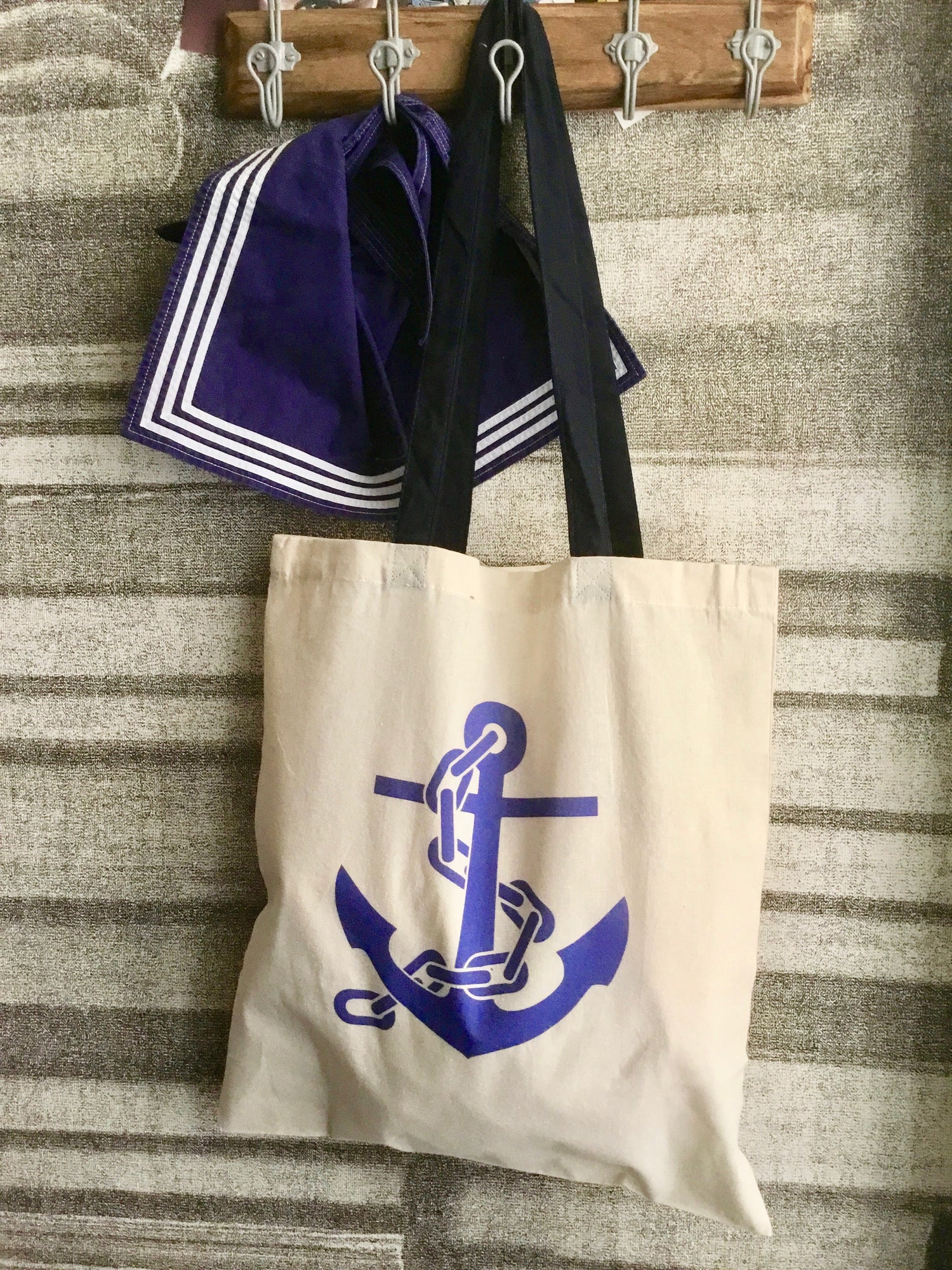 Image of Borsa Shopping in cotone Ancora/ Anchor canvas tote bag
