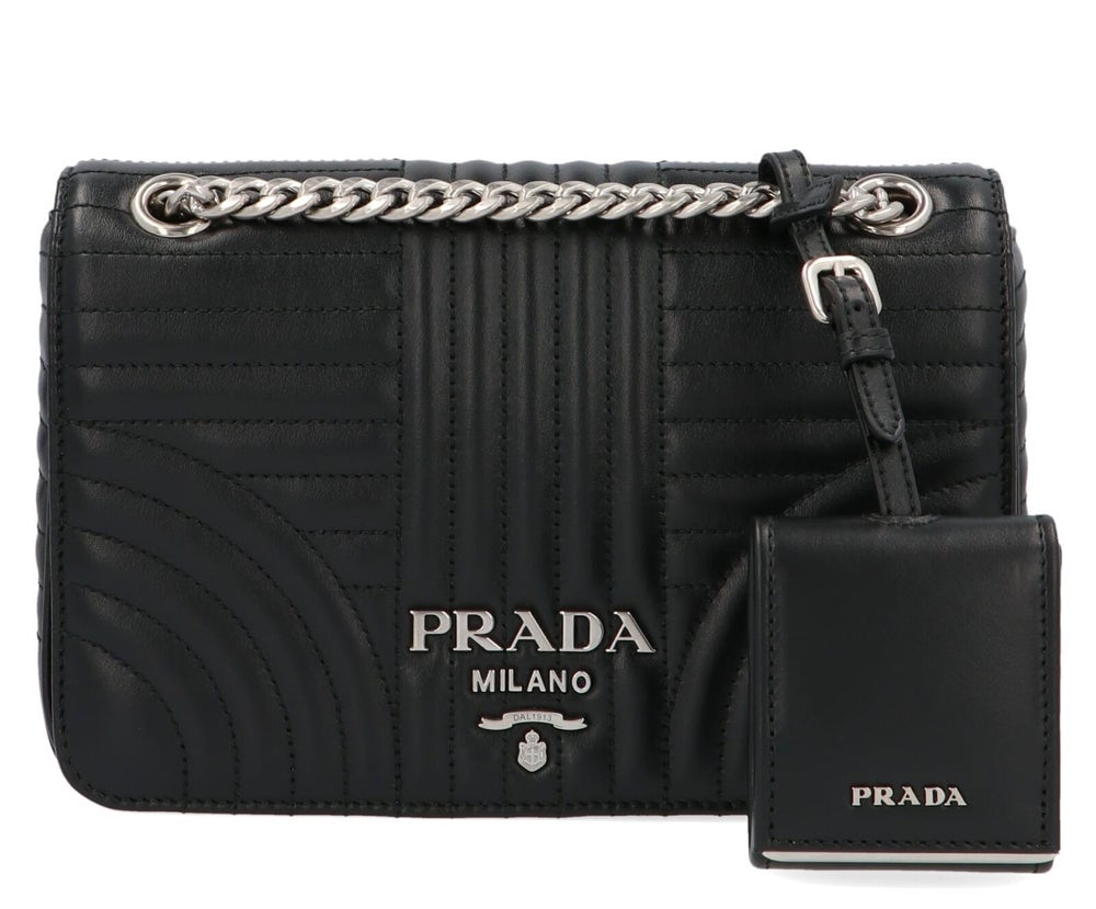 Image of Prada Diagramme Black Leather Bag