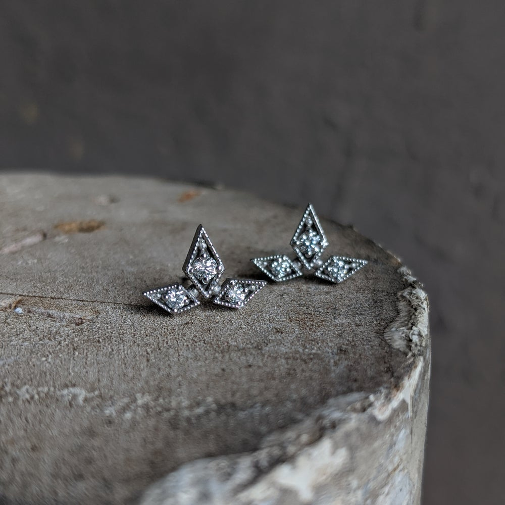 Image of Large Triple Star Studs, White
