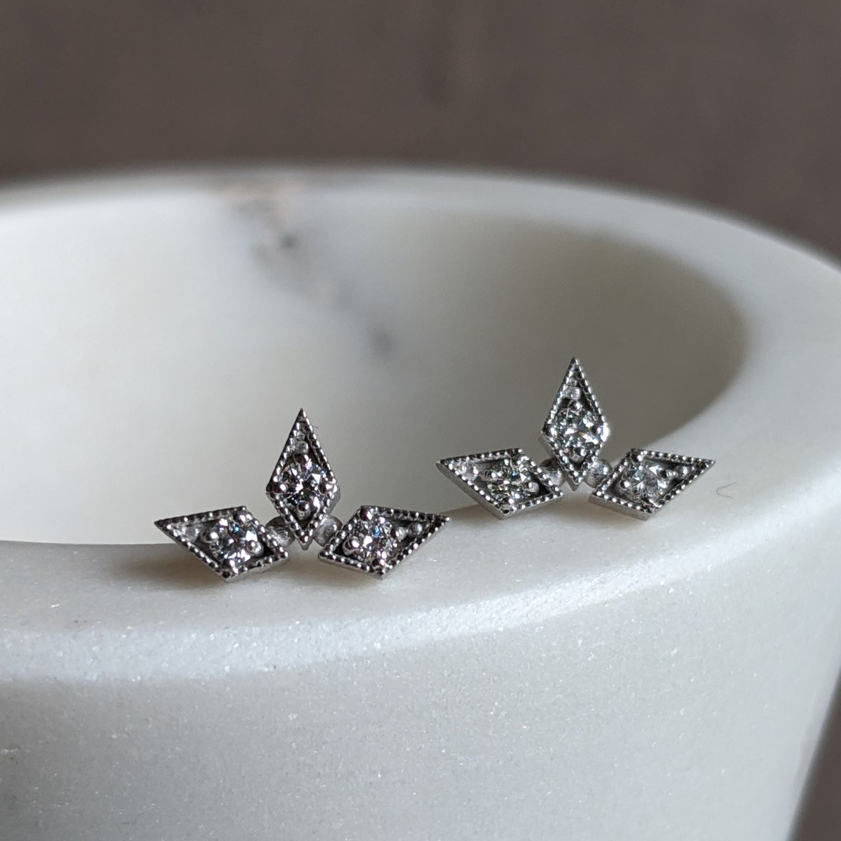 Image of Triple Star Studs, White