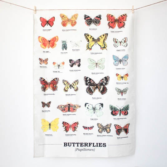 Image of Butterflies Print Cotton Tea Towel