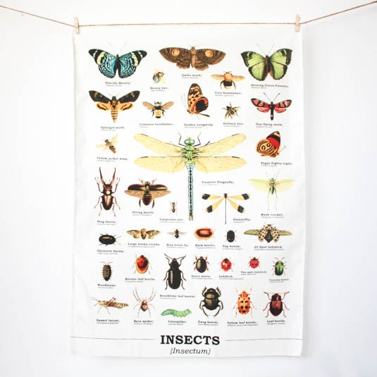 Image of Insects Print Cotton Tea Towel