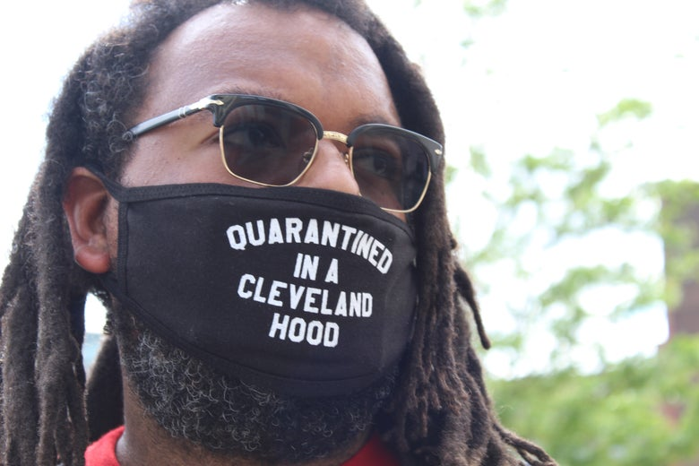 Image of Quarantined In A Cleveland Hood Face Mask