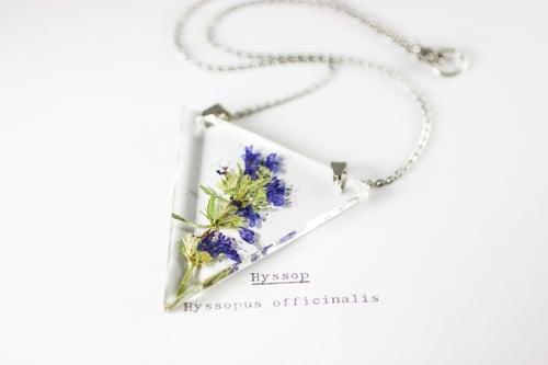 Image of Hyssop (Hyssopus officinalis) - Triangular Pressed Pendant #1