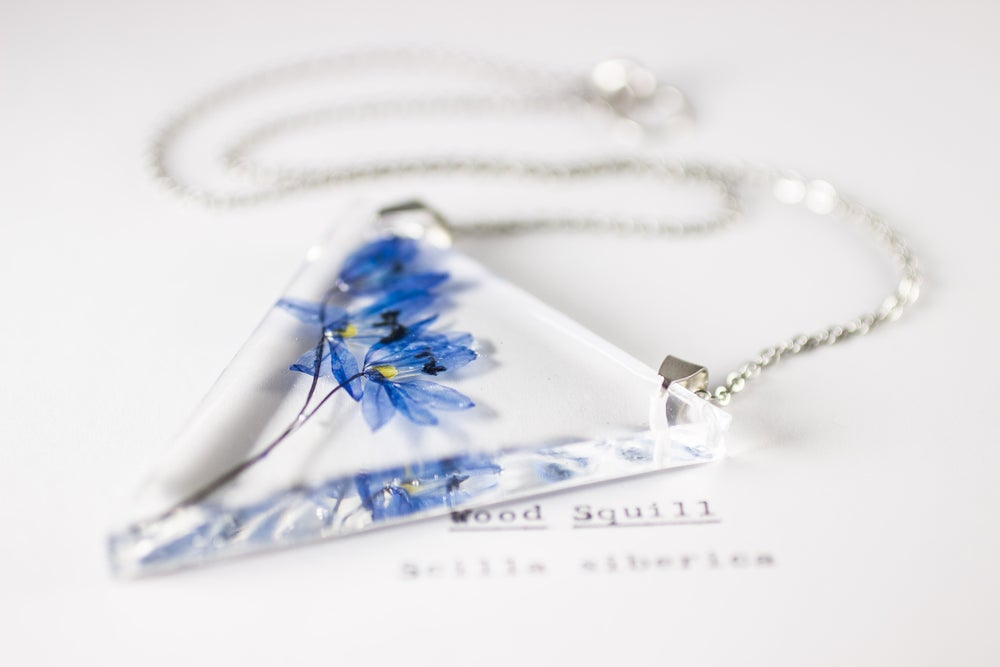 Image of Wood Squill (Scilla siberica) - Triangular Pressed Pendant #1