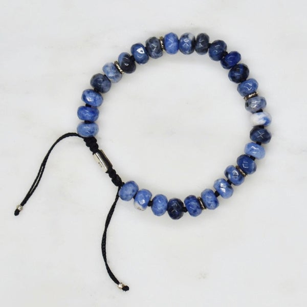 Image of Sodalite mixed cut x silver charms bracelet
