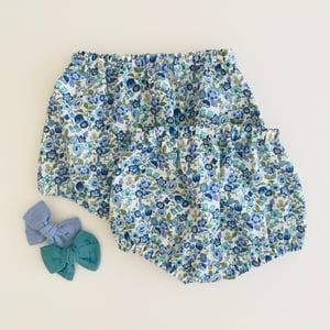 Image of Bloomer coton bleu, turquoise & vert