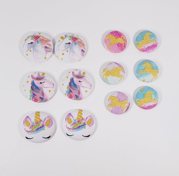 Image of Unicorn Button Earrings