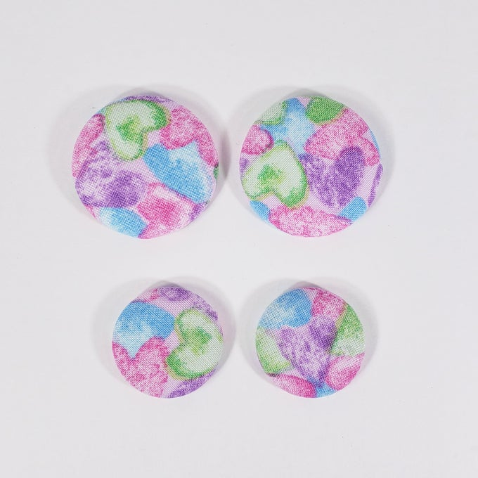 Image of Colorful Heart Button Earrings