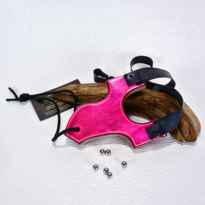 Image of Compact Wooden Sling Shot, Pink Lady, OTF Right Handed Slingshot Shooter, Wood Catapult Hunting Gift