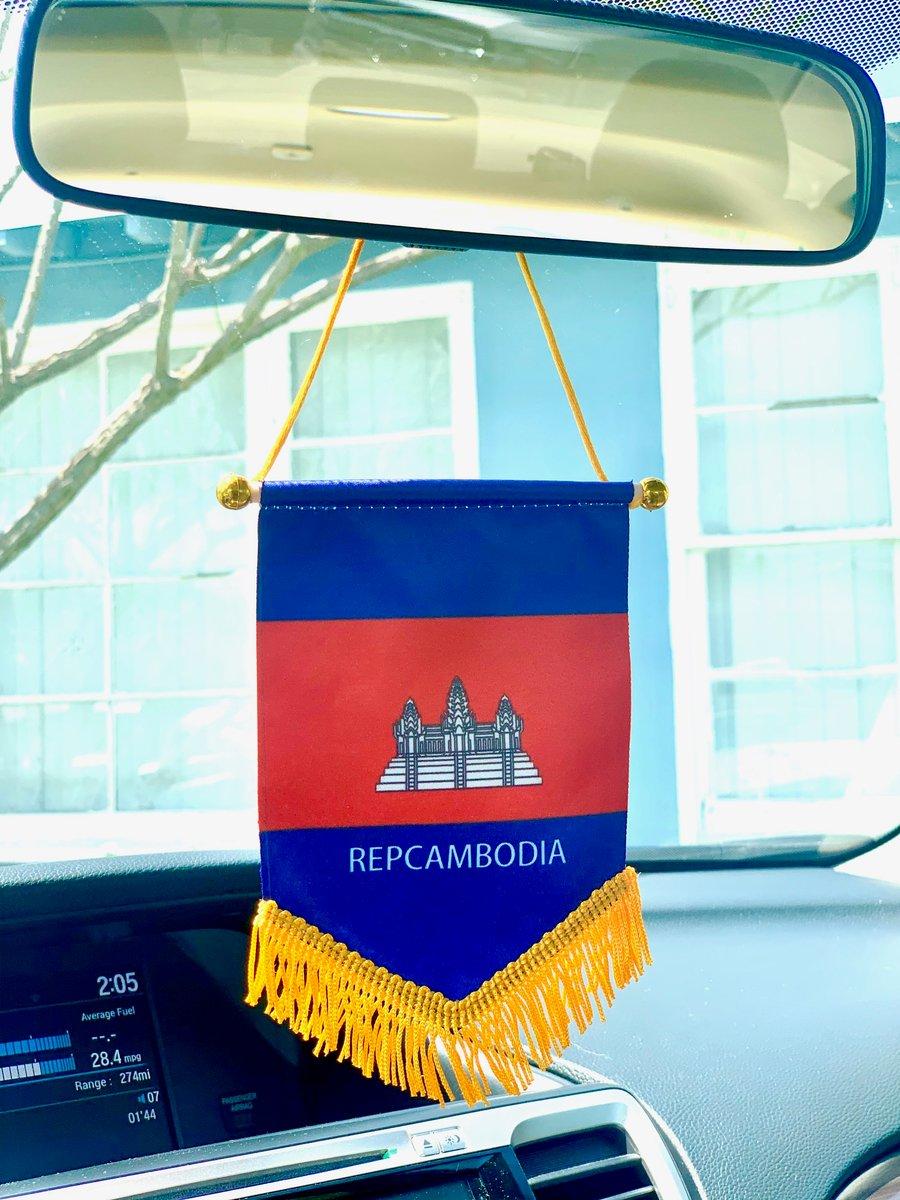Image of Rear View Mirror REPCAMBODIA flag