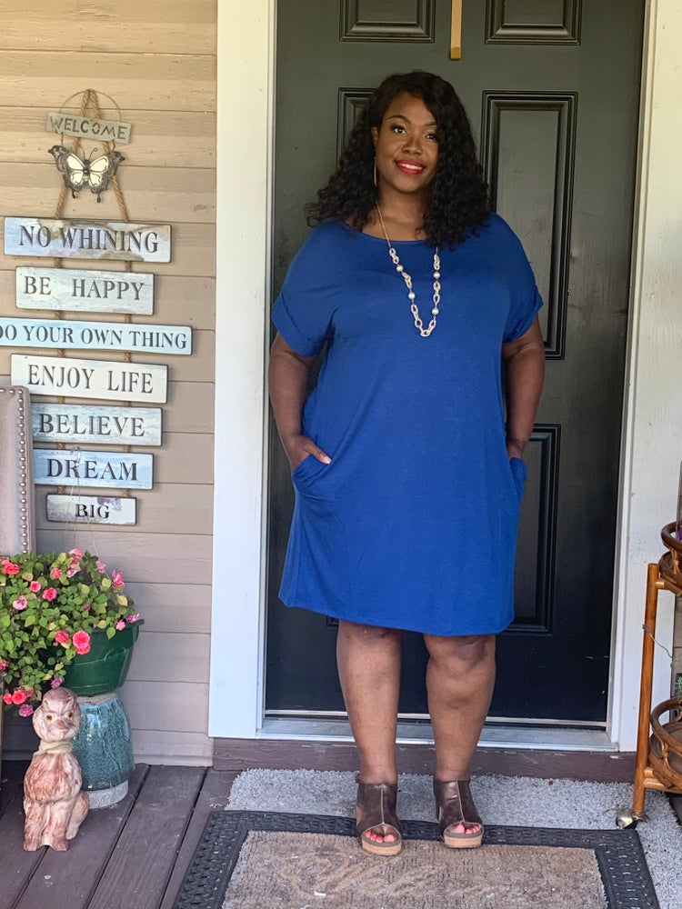 Image of casual mini dress  blue pink mustard coral