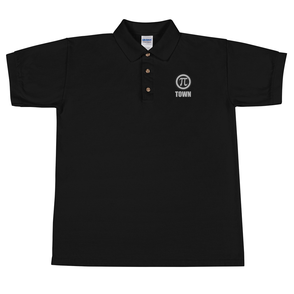 Image of Pi Town Alternate Logo Embroidered Polo Shirt - Black