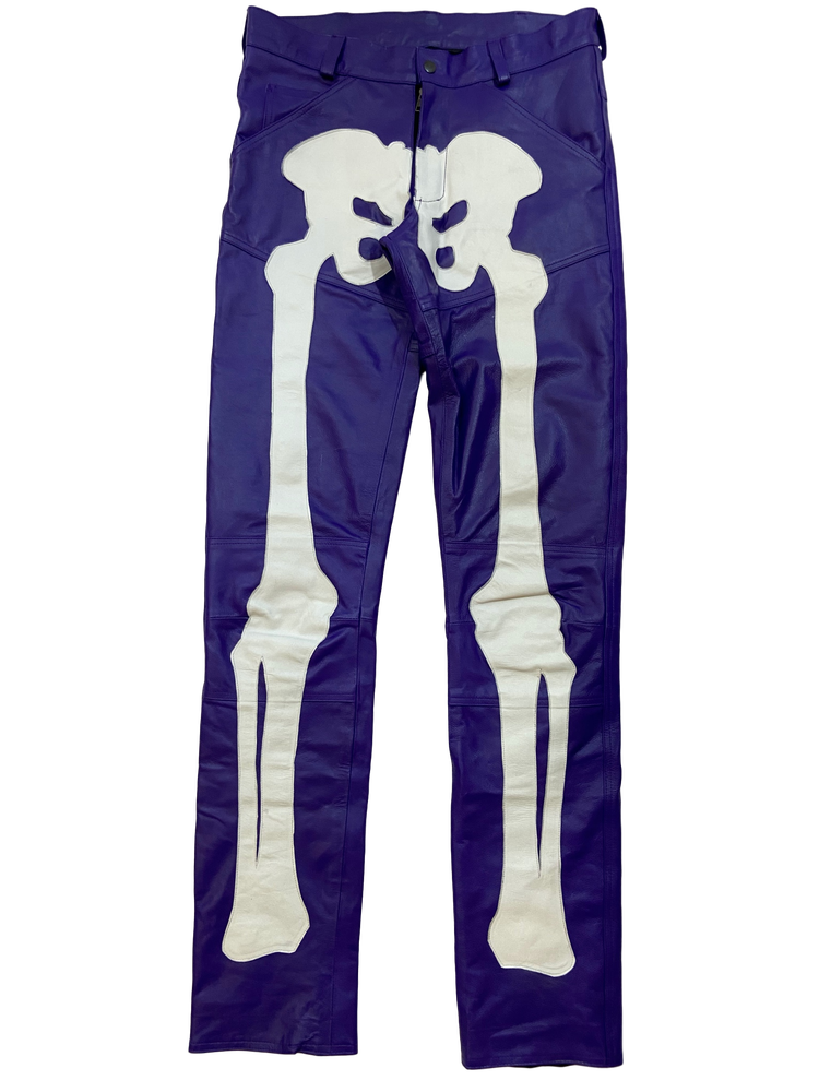 Image of PURPLE BIKER BONES LEATHER PANTS