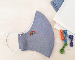 Image of Embroidered Rainbow Blue Face mask