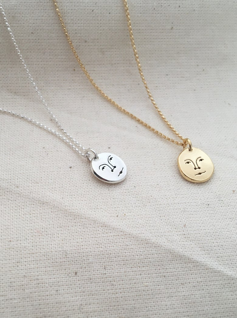 Image of mini moon face necklace