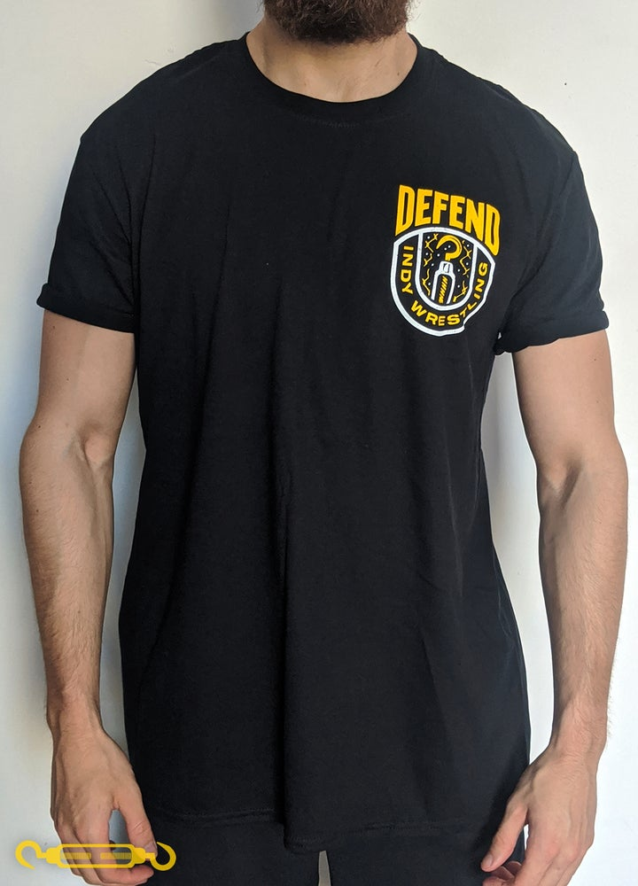 Image of DEFEND Black 'Yellow Crest' Shirt