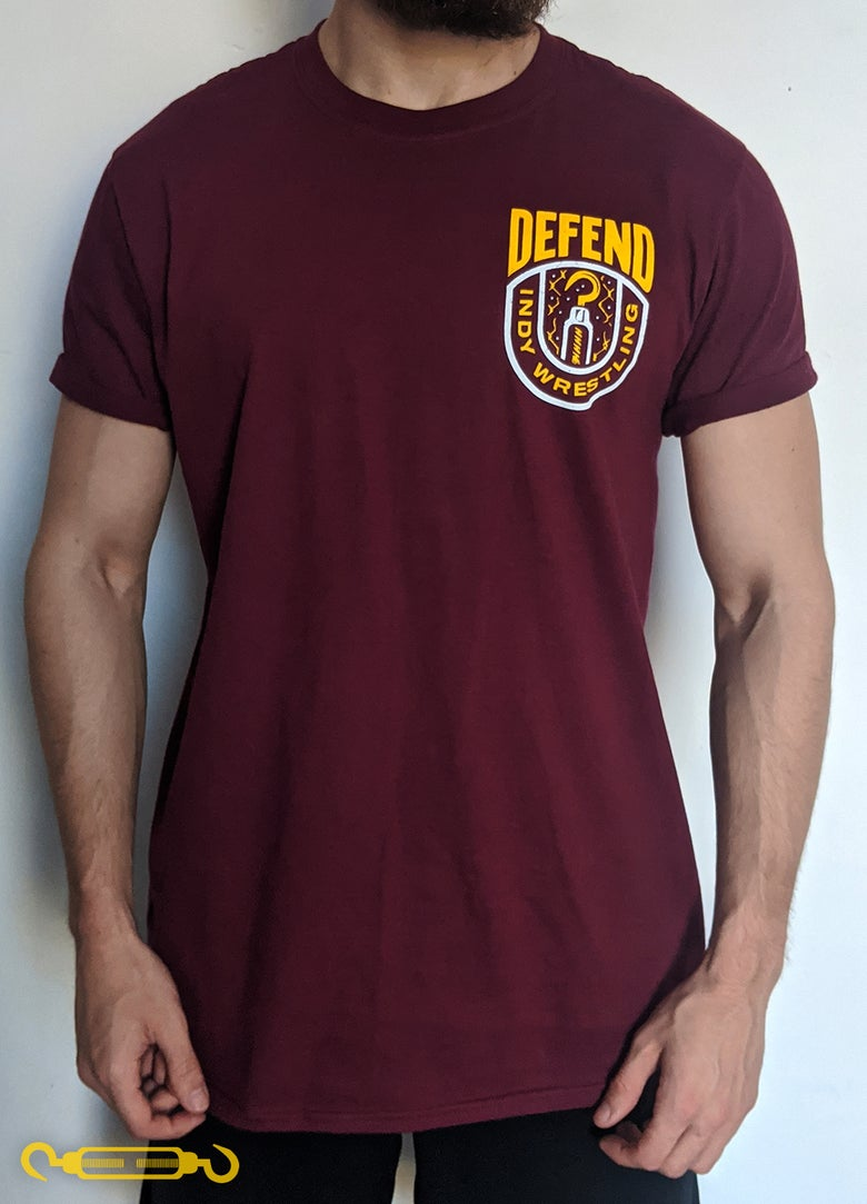 Image of DEFEND Maroon 'Yellow Crest' Shirt